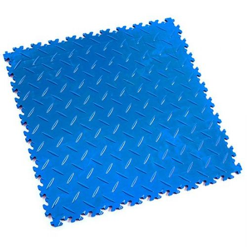 Electric Blue Diamond Plate - Motolock Interlocking Floor Tile
